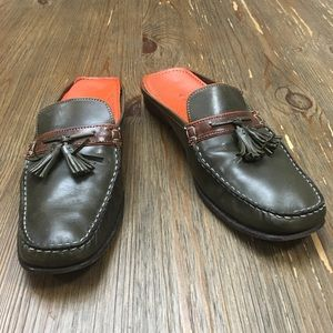 Cole Haan Forest Green Leather Mule Loafers Size 9